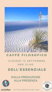 CAFFE' FILOSOFICO. DELL'ESSENZIALE @ Darsena Sunsetbar | Rimini | Emilia-Romagna | Italia